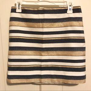 Shiny-Striped Mini Skirt